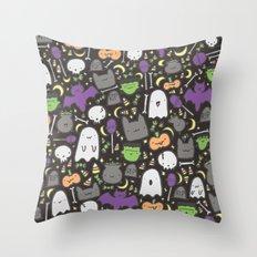 Kawaii Halloween - Black Throw Pillow