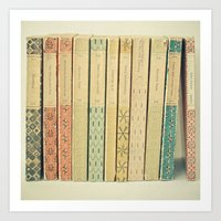 teal Art Prints featuring Old Books by Cassia Beck