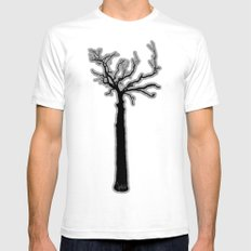 Black & White Tree's White Mens Fitted Tee SMALL