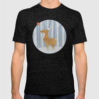 Origami deer in the Woods Mens Fitted Tee Tri-Black SMALL