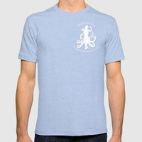 MadSea Nymph, white on blue Mens Fitted Tee Tri-Blue SMALL