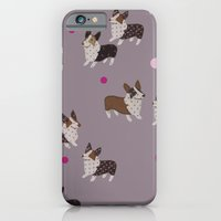 iPhone & iPod Case featuring pink dot corgis by threequalsquare