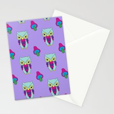 Psychedelic Woodland Mint Owl Stationery Cards