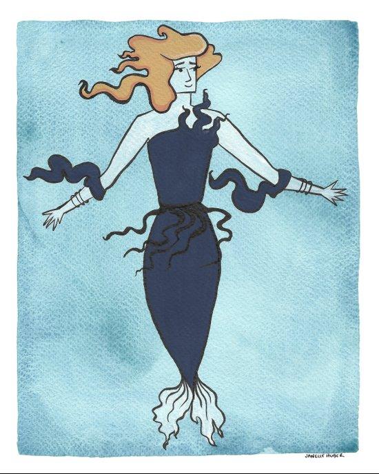 Nervous Mermaid Art Print