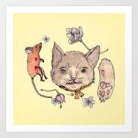 Al Gato Y Al Raton Art Print