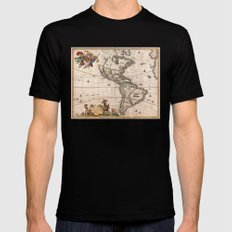 1658 Visscher Map of North America & South America (with 2015 enhancements) SMALL Mens Fitted Tee Black