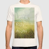Let's Run Away Mens Fitted Tee Natural SMALL