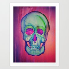 Watercolor skull/Blue Art Print
