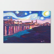 Starry Night in Dresden - Van Gogh Inspirations on River Elbe Canvas Print