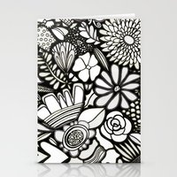 Flowers On The Wall Blac… Stationery Cards