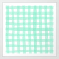 Gingham Mint Art Print