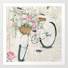 White bike & roses Art Print