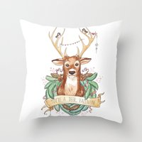Deer Valentine Throw Pillow