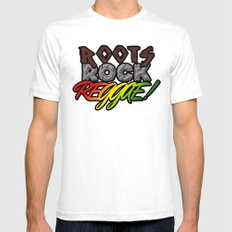 Roots Rock Reggae Mens Fitted Tee White SMALL
