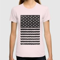 Black Zig Zag Flag Womens Fitted Tee Light Pink SMALL