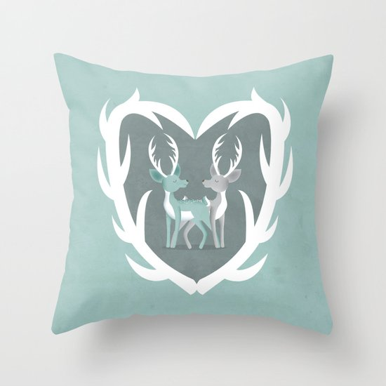 I Love You Deerly Throw Pillow by Milli-Jane Society6