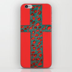 Coral & Teal Leopard Print Cross iPhone & iPod Skin