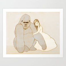 Gorilla and Girl Art Print