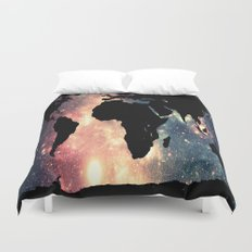 World Map Mauve & Teal Space Duvet Cover