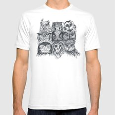 Nine Owls MEDIUM Mens Fitted Tee White