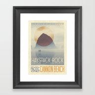 Haystack Rock Of Cannon … Framed Art Print