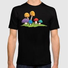 Mushrooms (Colors) Mens Fitted Tee Black SMALL