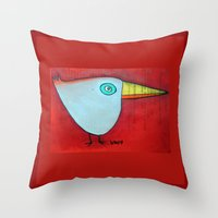 Birdy Blue Throw Pillow