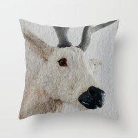 Winter Deer - JUSTART © Throw Pillow