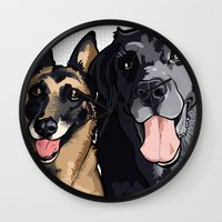 Two Dogs Wall Clock