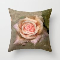 Vintage Rose With Water … Throw Pillow