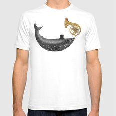 Whale Song - colour option SMALL Mens Fitted Tee White