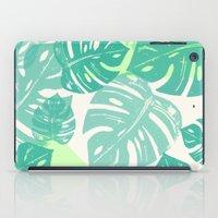 Linocut Monstera Green iPad Case