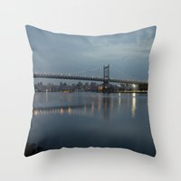 Triborough Bridge At Nig… Throw Pillow