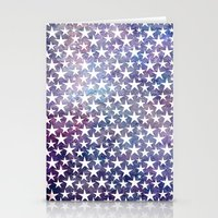 White stars on bold grunge blue background Stationery Cards