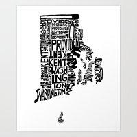 Typographic Rhode Island Art Print