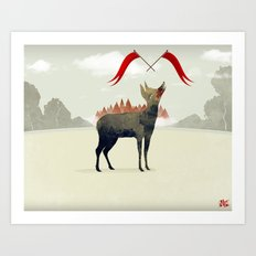 Wood Hyena Art Print