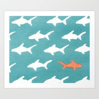 Splashy Sharks Art Print