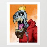 Jackhook Metal Skeleton Art Print