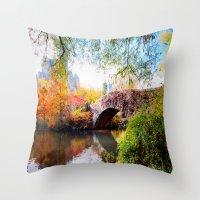 Last Autumn in Central Park Throw Pillow