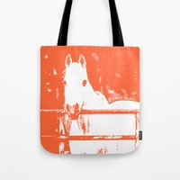 White Horse - Coral Red Tote Bag