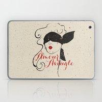 Black Red Vintage French Illustration Woman Sketch Laptop & iPad Skin