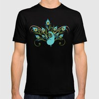 Just a Peacock Mens Fitted Tee Black SMALL