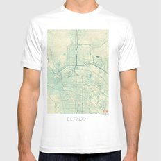 El Paso Map Blue Vintage Mens Fitted Tee SMALL White