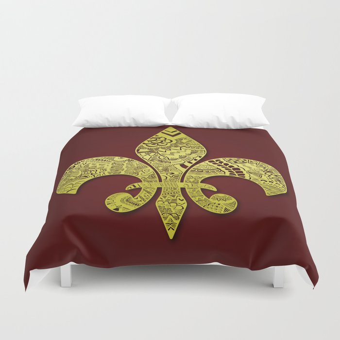 Gold fleur de lis duvet cover by riaora creations society6 - Fleur de lis comforter ...