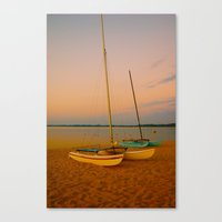 Two Boats At Sunset Canvas Print