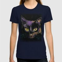 Shadow Cat Womens Fitted Tee Navy SMALL