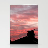 Winter sunset over London Stationery Cards