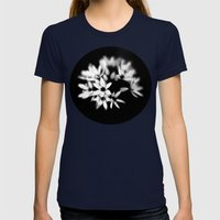 B&W Flower  Womens Fitted Tee Navy SMALL