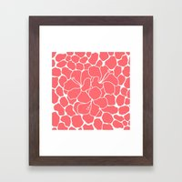 Hibiscus Flowers Animal Print Coral Ivory Framed Art Print