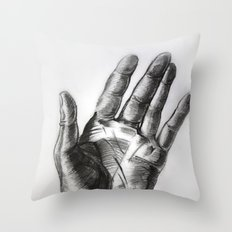 hand drawing hand Throw Pillow
